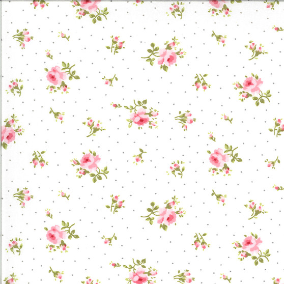 Sophie Medium Floral toss in White by Brenda Riddle
