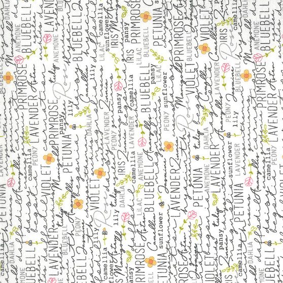 Spring Chicken - Flower Names - Text Print on Cream - by Sweetwater Fabrics