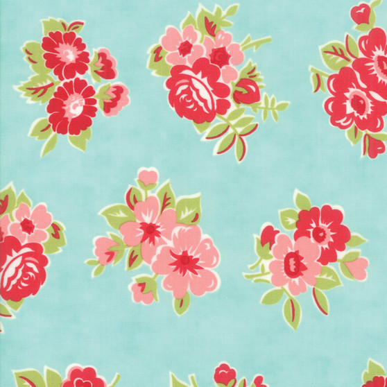 LITTLE SNIPPETS Marmalade Floral in Aqua #55188-12