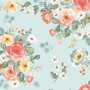 Gingham Gardens Main Floral in Aqua by My Mind's Eye