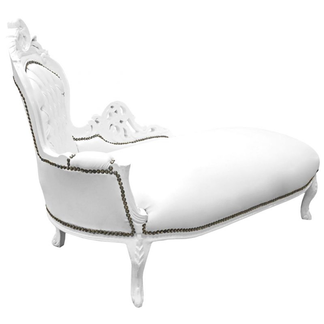 Baroque White Chaise Lounge Persiano Event Rentals