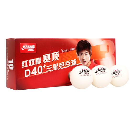 40pcs DHS D40+ 3 Star Seamed Table Tennis Balls (White/Orange)