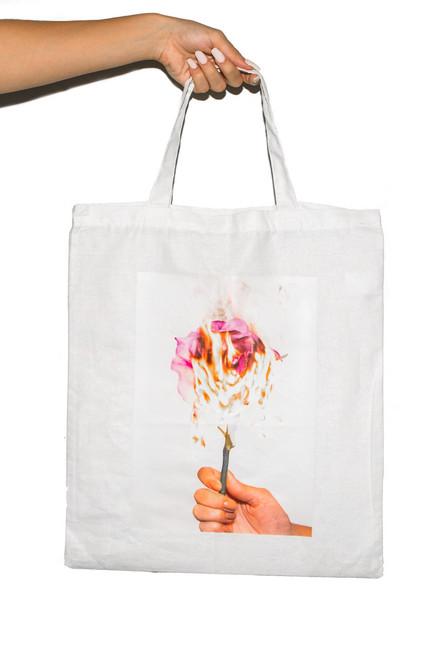 Tote Bag  - White Pink Rose