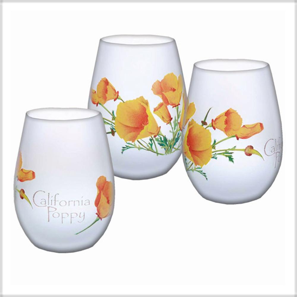 California Poppy Stemless Wine Glasses - Set of 3