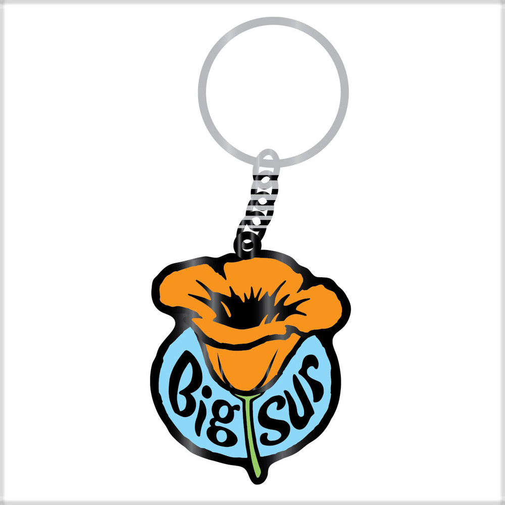 Key chain with Orange Poppy in Bloom