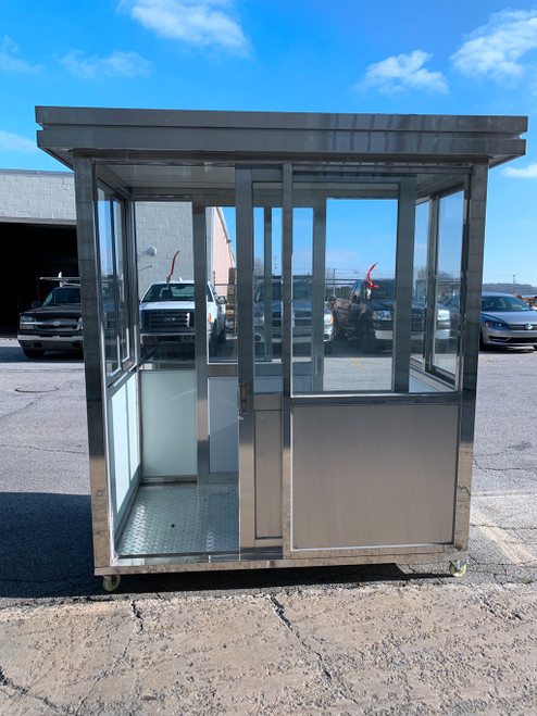 304 Stainless Steel Guard Shack Booth 6.5ft x 4ft double sliding door