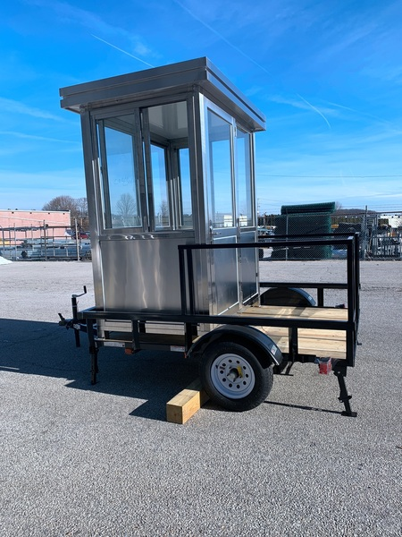 304 Stainless Steel 4ft x 6ft booth mounted on  6' x 8' flatbed trailer