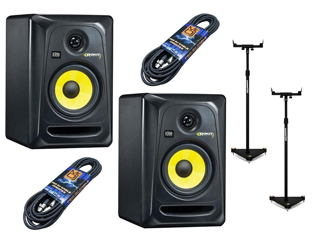 2 KRK RP5G3-NA With Pair Of Samson MS200 Monitor Stands and 2 Mr. DJ 25ft XLR to XLR cables