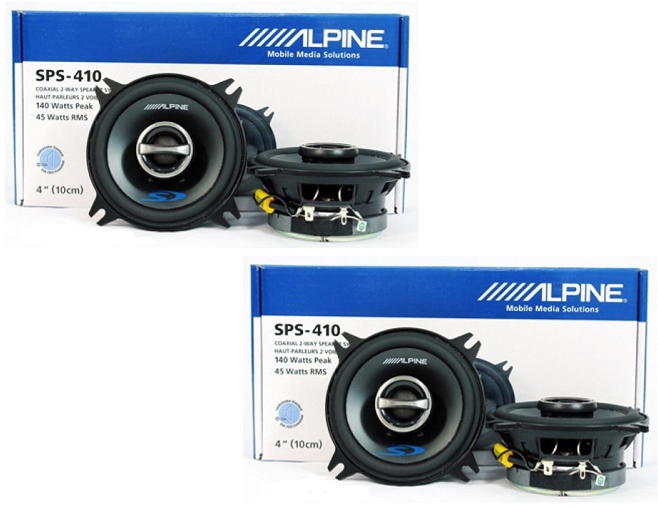 "4 x ALPINE TYPE-S SPS-410 4"" 2-WAY CAR AUDIO SPEAKERS (2 PAIR)"