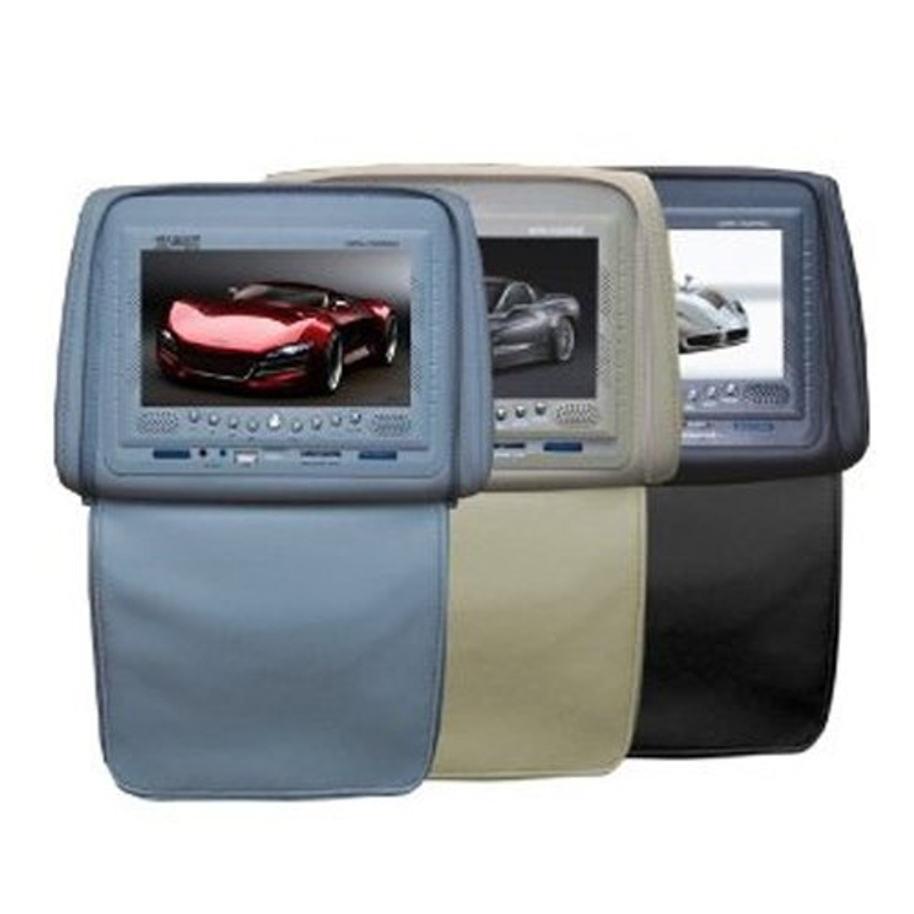 Absolute DPH750PKGC 7.5-Inch Headrest Monitor Package Cream One with Built-In DVD Player, IR Transmitter, and FM Modulator