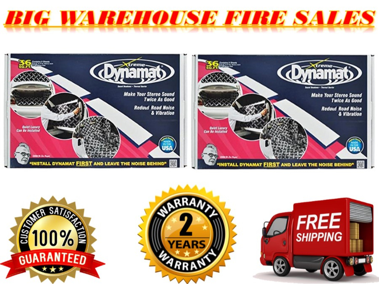 2 Original brand new Dynamat 10455 Xtreme Bulk Pack 36 SQ FT (9 Sheets)