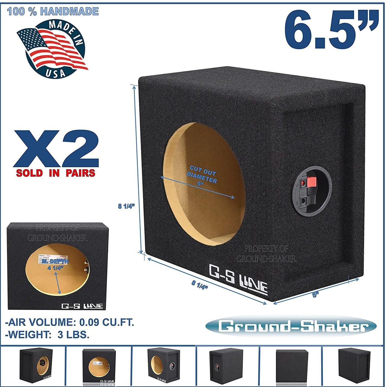 2x Ground Shaker SQ6.5 Single Square Subwoofer Enclosure Speaker Box - Black