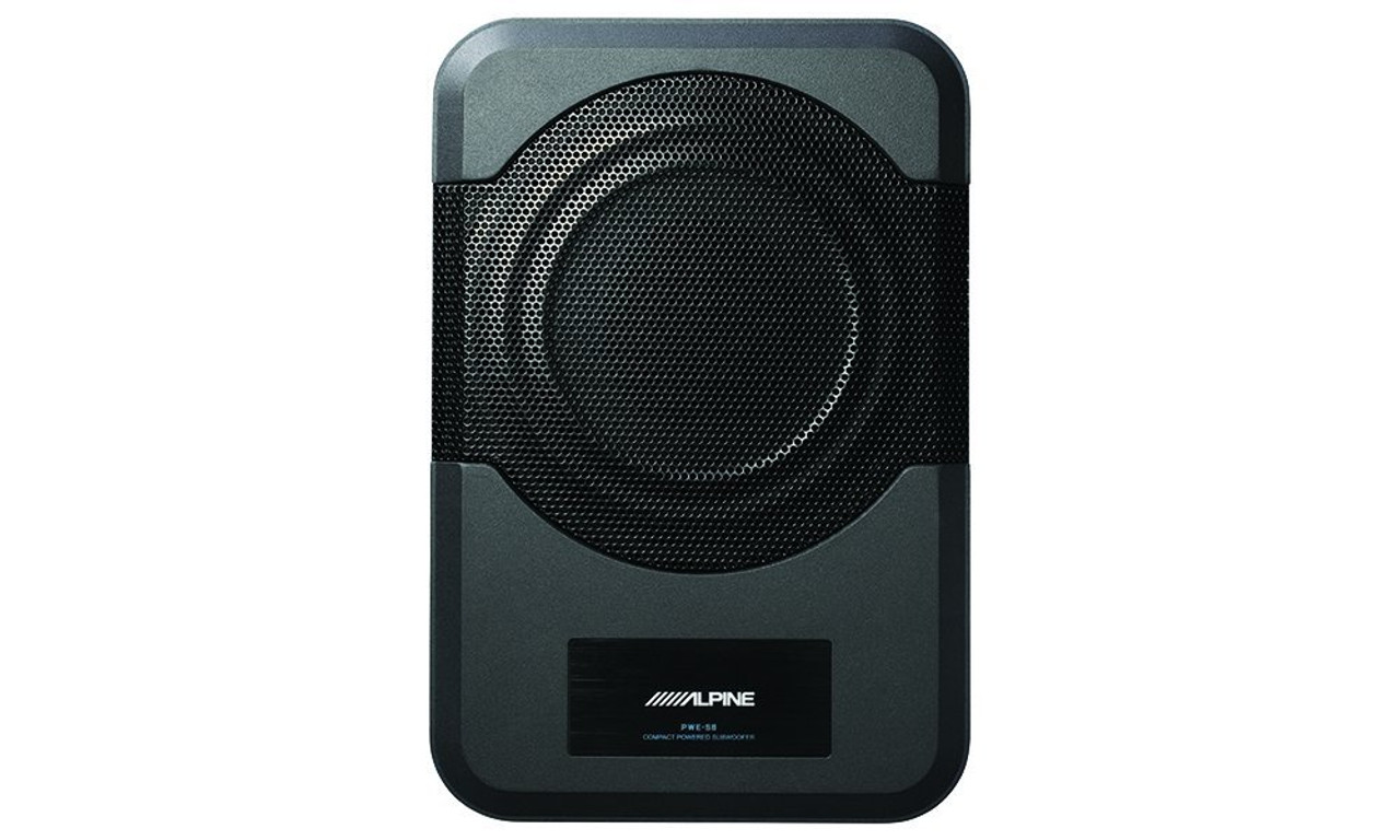 """Alpine PWE-S8 8"""" Amplified Subwoofer 120W Compact Powered 8"""" Car Subwoofer for Under or Behind the Seat"""