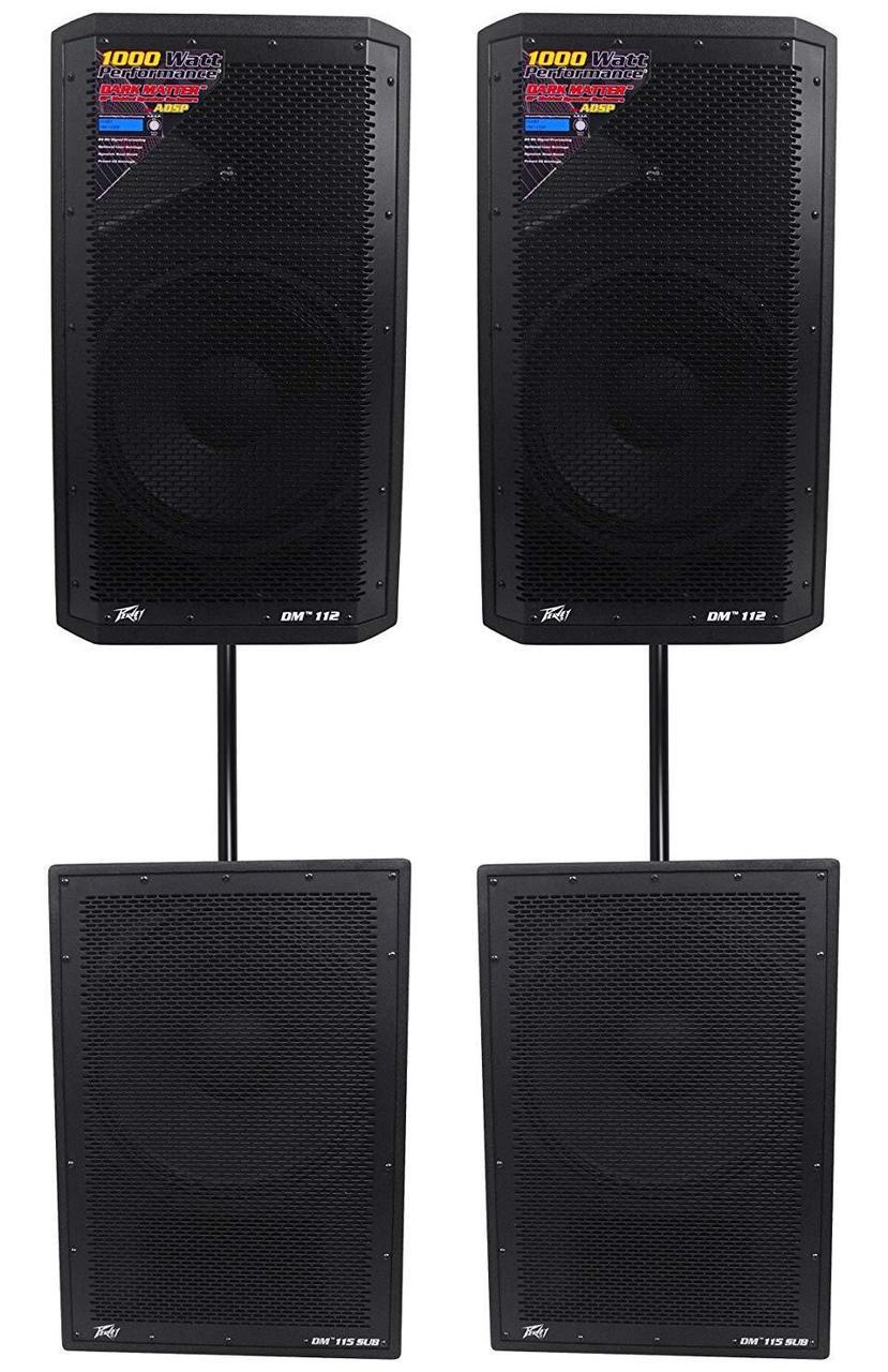 "(2) Peavey DM 112 12"" 1000W Powered PA Speakers+(2) DM 115 1000W 15"" Subwoofers"