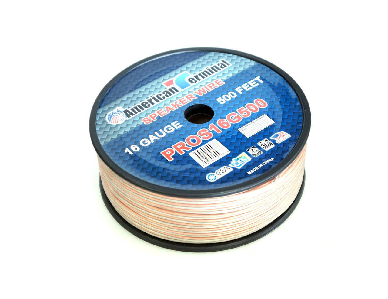 American Terminal PROS16G500 500 ft. of 16 Gauge Pro Series Clear Speaker Wire