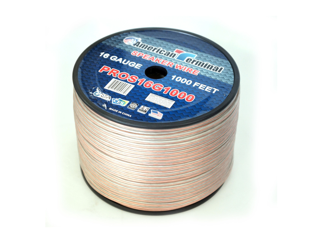 American Terminal PROS16G1000 1000 ft. of 16 Gauge Pro Series Clear Speaker Wire