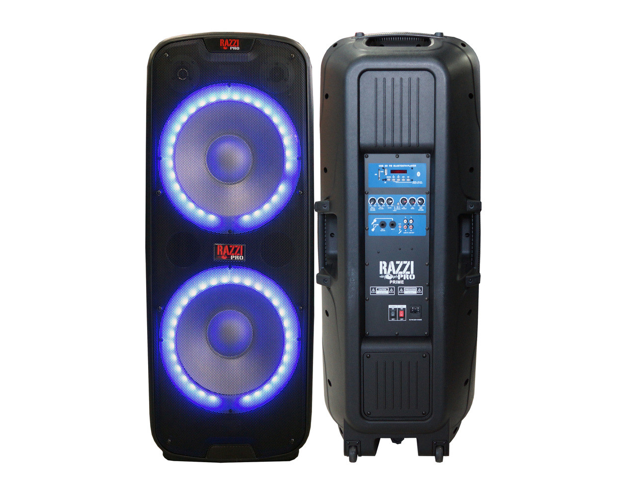 "RAZZI PRO Prime Dual 15"" Speaker Built-in Bluetooth, USB/SD Card Reader FM Radio Tuner, LED Accent Lighting LCD Display, 4500W P.M.P.O"