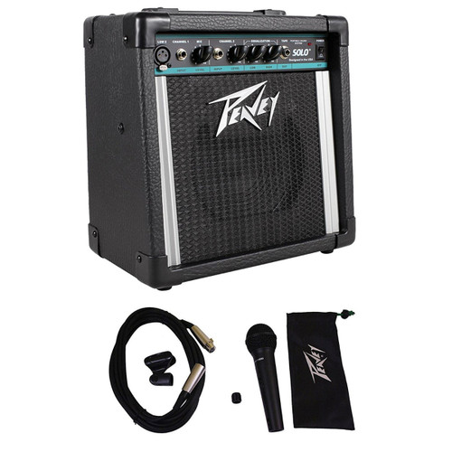 Package: Peavey Solo Portable PA Battery or AC 2 Channel Powered PA Sound System + Peavey PVI100XLR Wired Dynamic Cardioid Vocal Microphone + Carrying Pouch + Mic Clip + XLR Cable