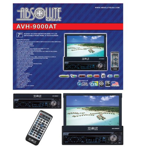 Absolute AVH-9000AT 7-Inch In-Dash Multimedia Touch Screen System with Bluetooth, Analog TV Tuner and USB/SD Slot