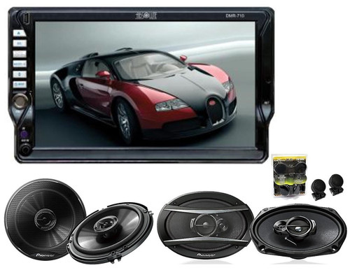 "Absolute Dmr-710t Single DIN 7"" Dvd, Mp3, Cd Touchscreen Monitor With Pioneer TS-G1645R 6.5 TS-A6966R 6x9 Speakers And Free Absolute TW600 Tweeter"
