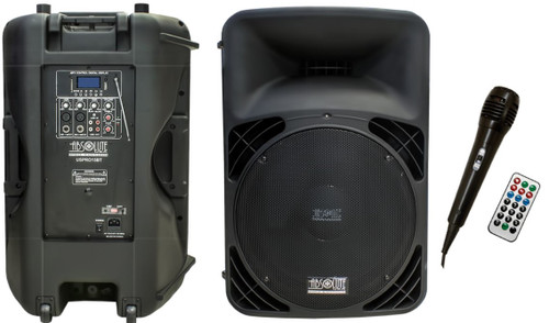 "ABSOLUTE USPRO15BT 2-WAY 15"" ACTIVE FULL RANGE PA DJ KARAOKE SPEAKER W/ BUILT IN MP3, FM RADIO, BLUETOOTH, FREE MIC AND REMOTE"