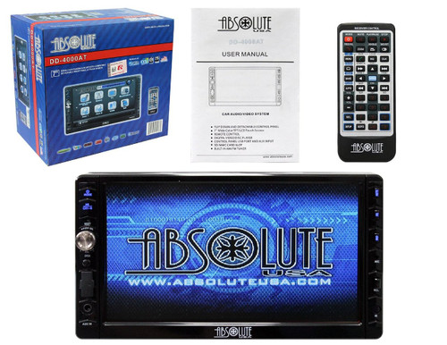 ABSOLUTE USA DD-4000AT 7-INCH DOUBLE DIN MULTIMEDIA DVD PLAYER RECEIVER WITH TOUCH SCREEN SYSTEM