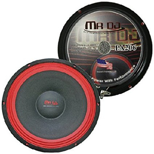 "MR DJ PA206 250-Watt 6"" Universal Pro PA/DJ Raw WOOFER Subwoofer, Black/Red"