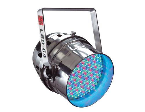 MR DJ LED64C DMX 6-CHANNEL DIMMER/STROBE AUTOMATIC RUNNING 183 LED RGB STAGE PAR CAN LIGHTS PAR64 LIGHTING (CHROME)