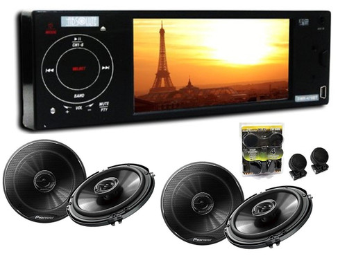 Absolute DMR-470BT 4.2-Inch In-Dash TFT LCD Monitor Multimedia DVD Player With 2 Pairs Of Pioneer TS-G1645R 6.5 Speakers And Free Absolute TW600 Tweeter