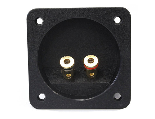 Absolute USA SST-450 3 x 3.5 -Inch Square Gold Push Spring Loaded Jacks Double Binding Post Speaker Box Terminal Cup