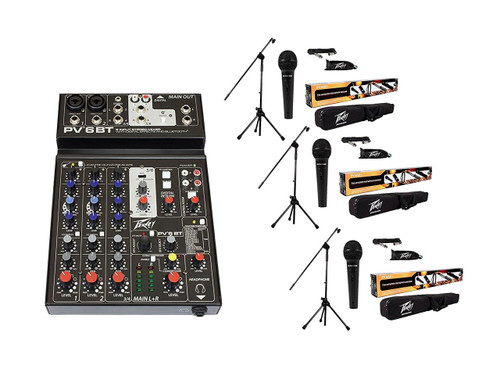Package: Peavey PV 6BT PV6BT Pro Audio Mixer With 2 Mic Inputs, Bluetooth, USB, Compressor/Effects 2 Combo XLRs, and 3 Band EQ + 3 Peavey MSP-1 Microphone and Stand package