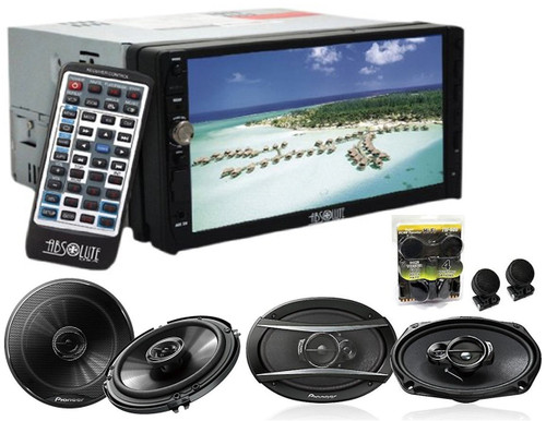 Absolute DD-3000BT 7-Inch Double Din Multimedia DVD Player With Pioneer TS-G1645R 6.5, TS-A6966R 6x9 Speakers And Free Absolute TW600 Tweeter