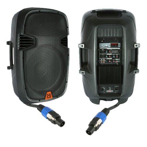 Mr. Dj PBX2610PKG 15'' 2000 Watt Max Peak Momentary Powered 2 Way Full Range Loud Speaker System Package