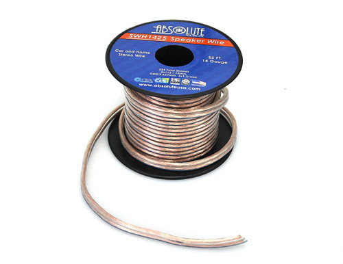 Absolute USA SWH1425 14 Gauge Car Home Audio Speaker Wire Cable Spool 25'