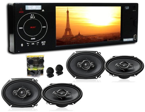 Absolute DMR-470BT 4.2-Inch In-Dash TFT LCD Monitor Multimedia DVD PlayerWith 2 Pairs Of Pioneer TS-A6886R 6x8 Speakers And Free Absolute TW600 Tweeter