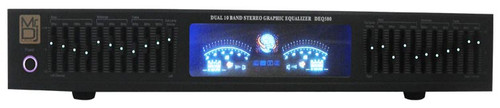 Mr. Dj DEQ500 Dual Band Stereo Graphic Equalizer with 10 Band EQ Blue Leds and Dual Vu Meters Level Monitor