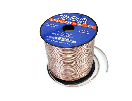 Absolute USA SWH16500 16 Gauge Car Home Audio Speaker Wire Cable Spool 500'