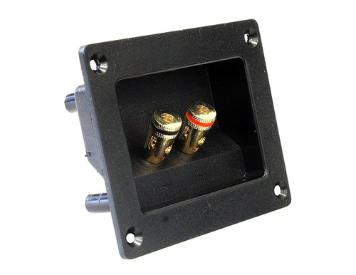 Absolute USA SST-350 3 x 3 Inches Square Gold Push Spring Loaded Jacks Double Binding Post Speaker Box Terminal Cup