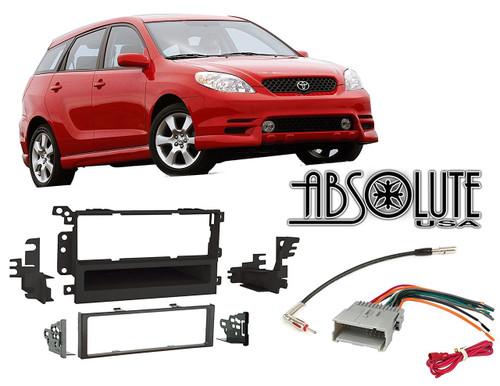 Absolute RADIOKITPKG10 Fits Toyota Matrix 2003-2004 Double DIN Stereo Harness Radio Install Dash Kit