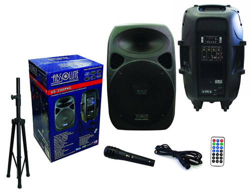 "Absolute USA US2500PKG 2-Way 15"" 3500W Active DJ/PA Speaker Built-In Bluetooth, Remote, SD/USB Reader, FM Radio, Wire Microphone & Speaker Stand"