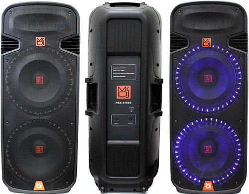 MR DJ PBX6100S PROFESSIONAL DUAL 15 INCH PASSIVE 5000 WATTS PA/DJ ABS CABINET WITH BUILT-IN ACCENT LED LIGHT