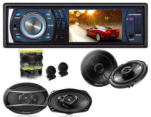 Absolute DMR-380 3.5-Inch In-Dash Single Din ReceiverWith Pioneer TS-G1645R 6.5, TS-A6966R 6x9 Speakers And Free Absolute TW600 Tweeter
