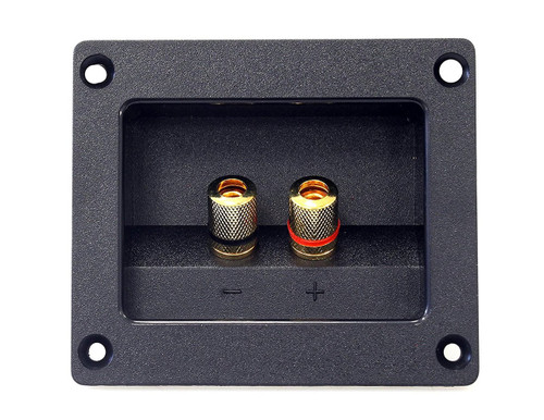 Absolute USA SST-400 3.5 x 3 Inches Square Gold Twist Banana Jacks Double Binding Post Speaker Box Terminal Cup