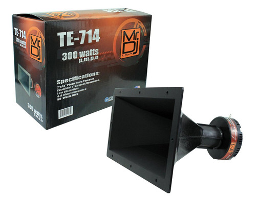 "MR DJ TE-714 7""X14"" 300 WATTS PRO AUDIO PA/DJ WIDE DISPERSION SCREW-ON TYPE PIEZO SPEAKER HORN TWEETER"