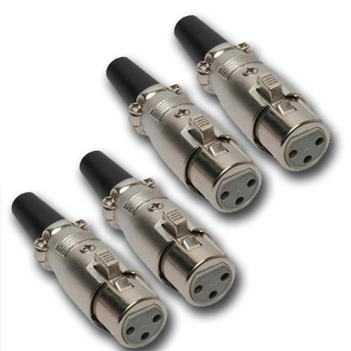 Mr. Dj XLRFH4 2 Pair XLR Female Head 3 Pin Connector Allows for Speaker Cables