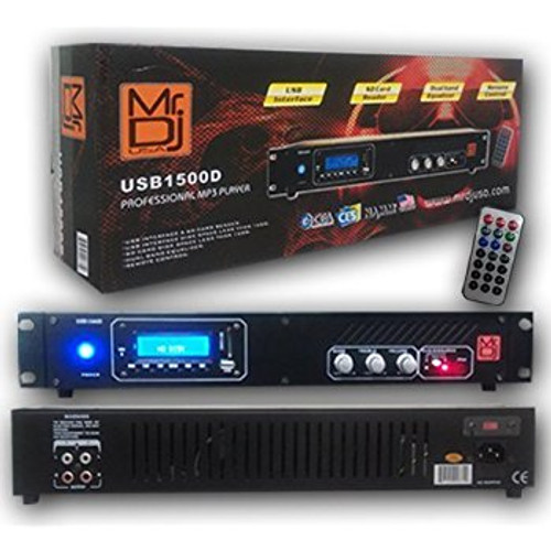 MR DJ USB1500D DJ MIXER PROFESSIONAL MP3 PLAYER USB INTERFACE AND SD CARD READER WITH LCD DISPLAY AND REMOTE CONTROL