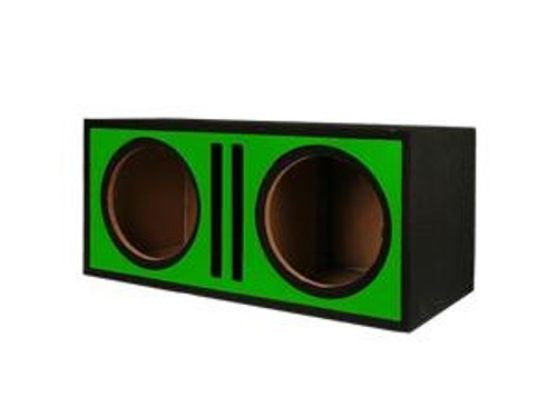 "Absolute Pdeb12gr (Green) Dual 12"" 3/4"" MDF Twin Port Subwoofer Enclosure w/ Green High Gloss Face Board"