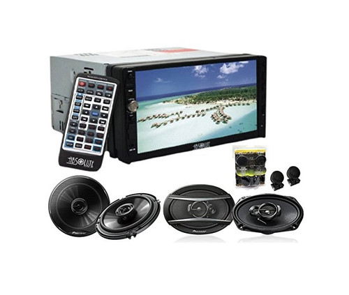 Absolute DD-3000 7-Inch Double Din Multimedia DVD Player With Pioneer TS-G1645R 6.5, TS-A6966R 6x9 Speakers And Free Absolute TW600 Tweeter