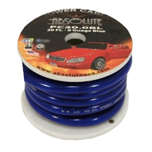 Absolute P020BL 0 Gauge Spool Power Wire Cable, 20 Feet (Blue)