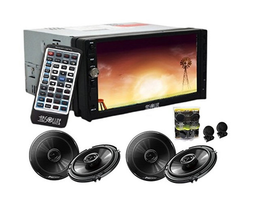Absolute DD-3000ABT 7-Inch Double Din Multimedia DVD Player Receiver With 2 Pair Pioneer TS-G1645R 6.5 Speakers And Free Absolute TW600 Tweeter